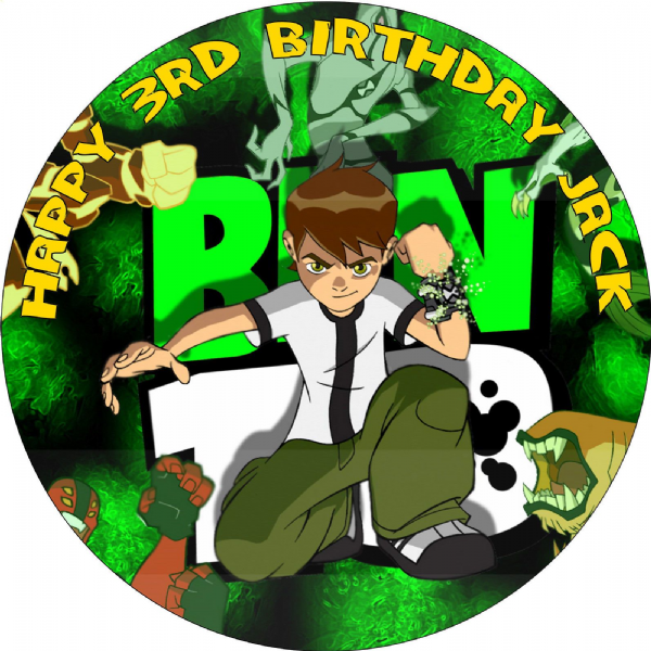 BEN 10 BIRTHDAY CAKE EDIBLE ROUND PERSONALISED CAKE TOPPER DECORATION